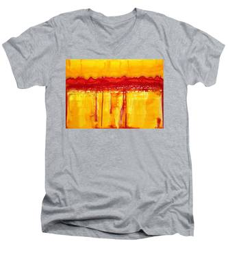 Rocky Mountains Original Painting Men's V-Neck T-Shirt