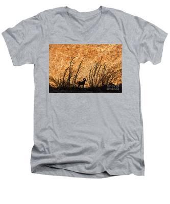 Silhouette Bighorn Sheep Men's V-Neck T-Shirt