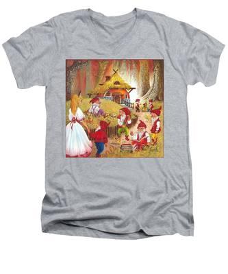 Snow White And The Seven Dwarfs Men's V-Neck T-Shirt
