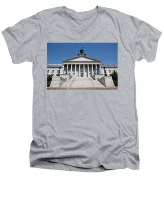 Men's V-Neck T-Shirt featuring the photograph South Carolina State Capital Building by Kyle Lee