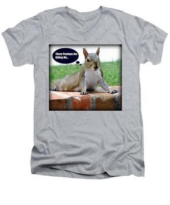 Squirrely Push Ups Men's V-Neck T-Shirt