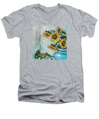 Sunflowers And Frog Men's V-Neck T-Shirt