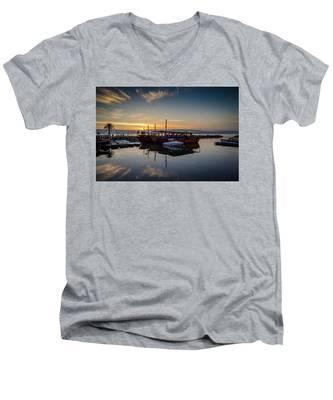 Sunrise Over The Sea Of Galilee Men's V-Neck T-Shirt