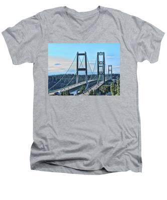 Tacoma Narrows Bridge 51 Men's V-Neck T-Shirt