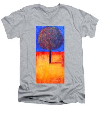 The Lonely Tree In Autumn Men's V-Neck T-Shirt