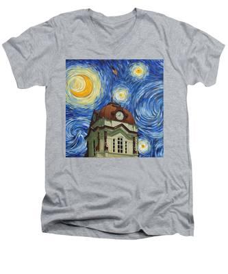 Van Gogh Courthouse Men's V-Neck T-Shirt