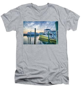 View Of Sportfishing Boats At Marina Men's V-Neck T-Shirt