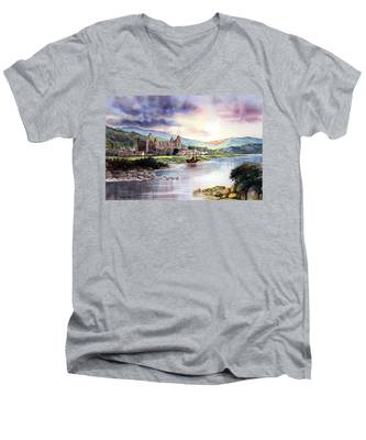 Late Evening At Tintern Abbey Men's V-Neck T-Shirt