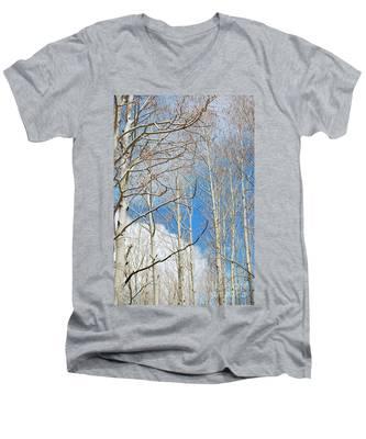 Cloudy Aspen Sky Men's V-Neck T-Shirt
