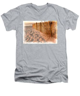 Men's V-Neck T-Shirt featuring the photograph Dune Fence by Kyle Lee