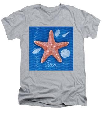 Seashells On Blue-sea Men's V-Neck T-Shirt