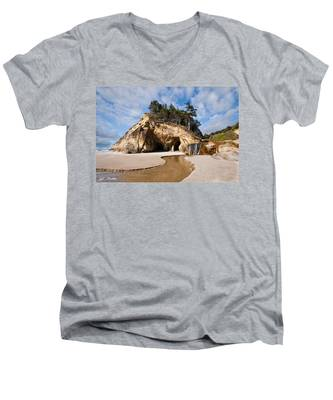 Waterfall Flowing Into The Pacific Ocean Men's V-Neck T-Shirt