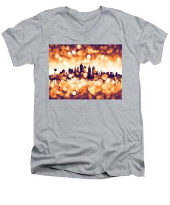 Philadelphia Pennsylvania Skyline Men's V-Neck T-Shirt
