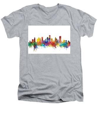 Houston Texas Skyline Men's V-Neck T-Shirt