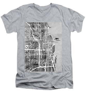 Chicago City Street Map Men's V-Neck T-Shirt