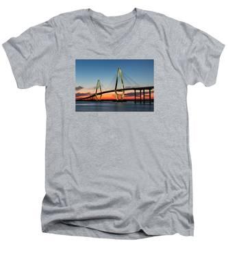 Arthur Ravenel Bridge, Charleston At Twilight Men's V-Neck T-Shirt