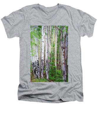 Aspen Grove In The White Mountains Men's V-Neck T-Shirt