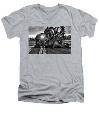 Men's V-Neck T-Shirt featuring the photograph Big Tree On The Beach At Sunrise In Monochrome by Kyle Lee