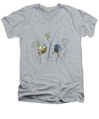 Birds In Tree Men's V-Neck T-Shirt