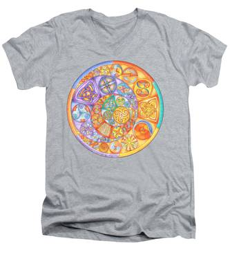 Celtic Crescents Rainbow Men's V-Neck T-Shirt