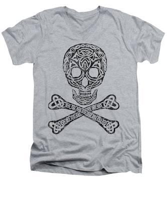 Celtic Skull And Crossbones Men's V-Neck T-Shirt
