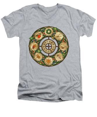 Celtic Wheel Of The Year Men's V-Neck T-Shirt