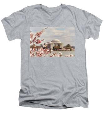 Cherry Blossom And Jefferson Men's V-Neck T-Shirt