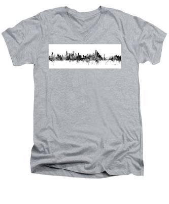 Chicago And New York City Skylines Mashup Men's V-Neck T-Shirt