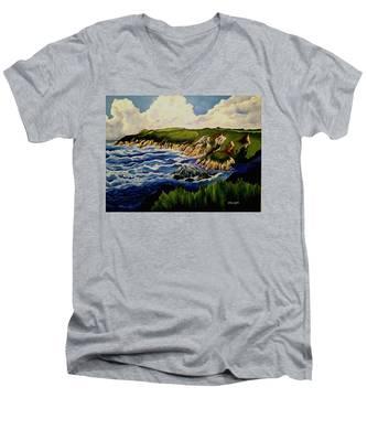 Cliffs And Sea Men's V-Neck T-Shirt