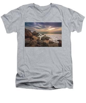 Cloudy Point Dume Sunset Men's V-Neck T-Shirt