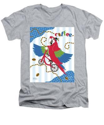 Coffee Parrot Men's V-Neck T-Shirt