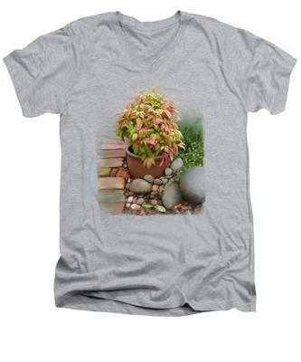 Dew On Leaves Men's V-Neck T-Shirt