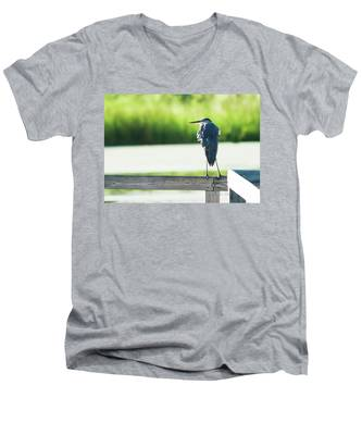 Early Morning Great Blue Heron Men's V-Neck T-Shirt