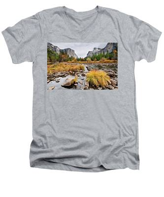 El Capitan And The Merced River In The Fall Men's V-Neck T-Shirt