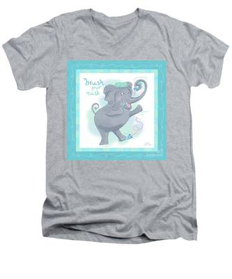 Elephant Bath Time Brush Your Tusk Men's V-Neck T-Shirt