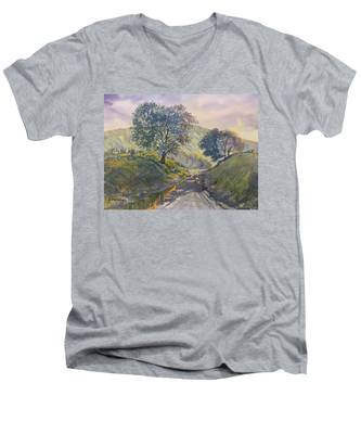 Evening Stroll In Millington Dale Men's V-Neck T-Shirt