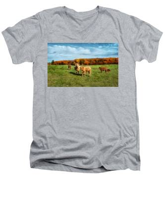 Farm Field And Brown Cows Men's V-Neck T-Shirt