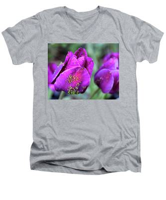 Aphids On Purple Tulips Men's V-Neck T-Shirt