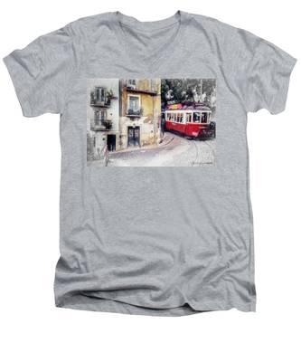 Historic Lisbon Tram Men's V-Neck T-Shirt