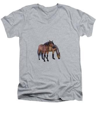 Horses In A Misty Dawn Men's V-Neck T-Shirt