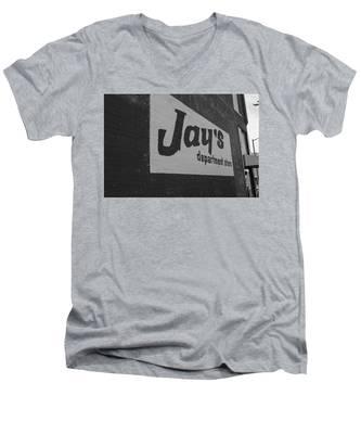 Jay's Department Store In Bw Men's V-Neck T-Shirt