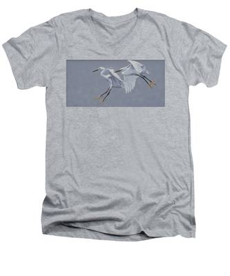 Little Egrets In Flight Men's V-Neck T-Shirt