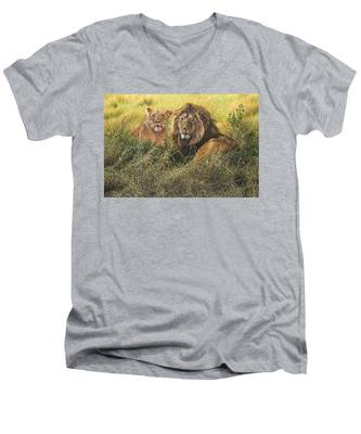 Male And Female Lion Men's V-Neck T-Shirt