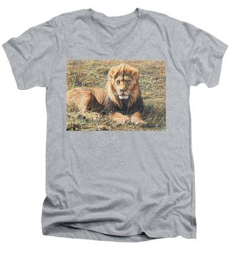 Male Lion Portrait Men's V-Neck T-Shirt