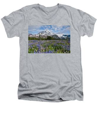 Meadow Of Lupine Near Mount Rainier Men's V-Neck T-Shirt