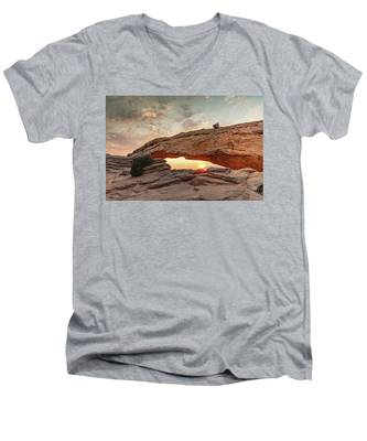 Men's V-Neck T-Shirt featuring the photograph Mesa Arch At Sunrise by Kyle Lee