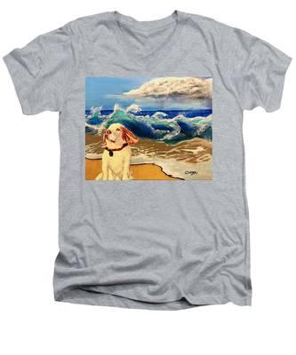 My Dog And The Sea #1 - Beagle Men's V-Neck T-Shirt