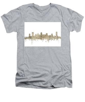 Nashville Tennessee Skyline Sheet Music Men's V-Neck T-Shirt