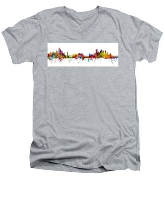 New York And Pittsburgh Skyline Mashup Men's V-Neck T-Shirt