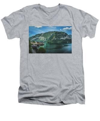 Picturesque Hallstatt Village Men's V-Neck T-Shirt